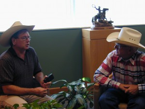 Interviewing the executive director of the Nat'l Cowboy Museum, Chuck Schroeder.