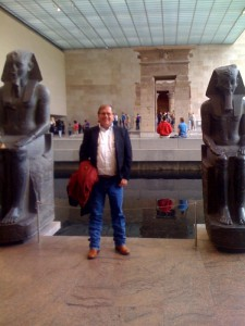 Among the ancient Egyptian exhibits at the Metropolitan Museum of Art. That's an actual, intact temple in the background, on the other side of the reflecting pool.