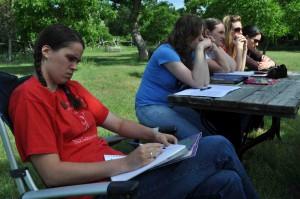 Students at picnic table