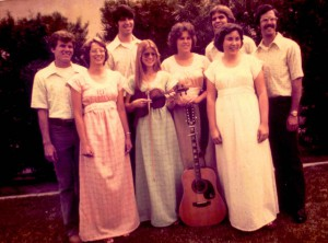 As a college student, Pearcey (in center, holding violin) was part of a musical group who called themselves The Journeymen.