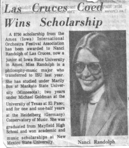 Nancy Pearcey scholarship newspaper clipping.